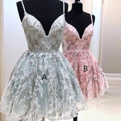 Stylish Spaghetti Straps Short Homecoming Dress | Cheap V Neck Sleeveless Lace Cocktail Dress_3