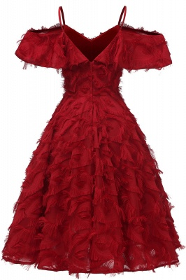 Stylish Spaghetti Straps Artifical Feather Princess Vintage Short Dresses_3