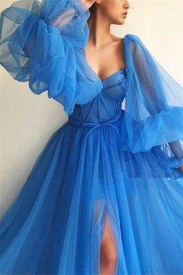 Sexy Long Sleeves Sweetheart See Through Bodice Prom Dress | Cheap Front Slit Blue Long Prom Dress_3