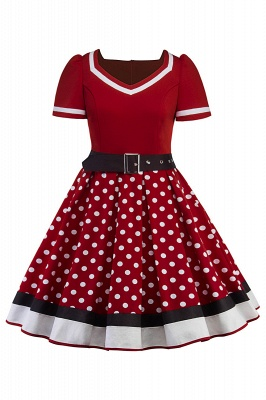 Fascinating A-line Belted Short Sleeve Jewel Polk-Dot Women's Dresses   Knee-Length Fashion Dress_3