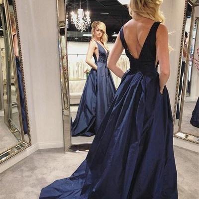 A-line Deep V-neck Open Back Prom Dress   Sexy Navy Blue Long Evening Dress_2