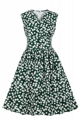 Glorious Jewel Sleeveless A-line Fashion  Dresses | Floral Knee-Length Women's Dress_9