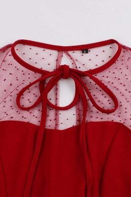 Elegant Round Neck Lace Short Sleeves Fashion Beer Dresses | A-Line Knee-Length Women's Dress_6