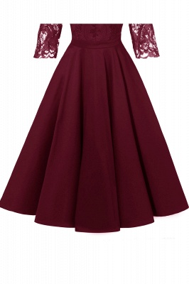 Stunning A-line Retro Scoop Neck V-back Ruffles Burgundy Lace Party Dresses_15