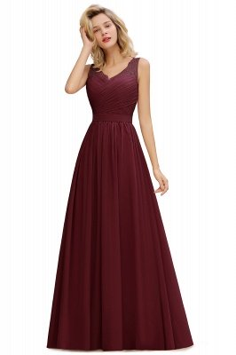 Simple V-neck Sleeveless Long Prom Dresses with soft Pleats_2