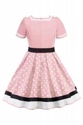 Fascinating A-line Belted Short Sleeve Jewel Polk-Dot Women's Dresses   Knee-Length Fashion Dress_16