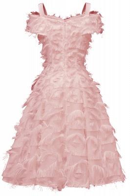 Artificial Fur Cap Sleeve Princess Short Homecoming Dress_8