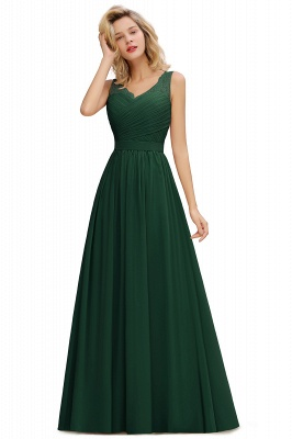 Simple V-neck Sleeveless Long Prom Dresses with soft Pleats_3