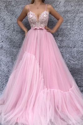 Sexy Spaghetti Straps V Neck Pink Prom Dress | Chic Lace Bodice Cheap Long Prom Dress with Sash_1