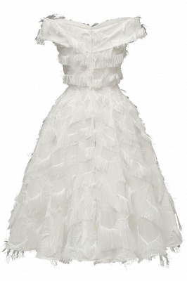 Lovely off-the-shoulder Artifical Feather Princess Vintage Homecoming Dresses_17