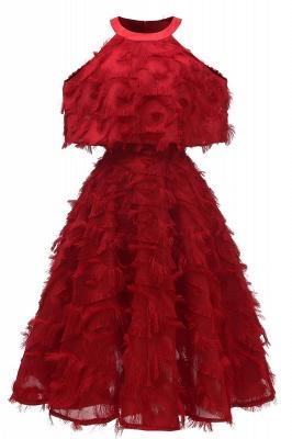 High neck Gorgeous Crew Neck Artificial Feather Dress Burgundy Short Dresses_3