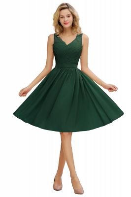 Cheap A-line Chiffon Ruffle Bridesmaid Dress Sleeveless Lace Homecoming Dress in Stock_4