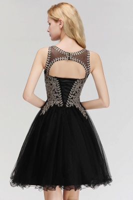 Cute Crew Neck Open Back Beaded Lace Appliques Homecoming Dresses_11