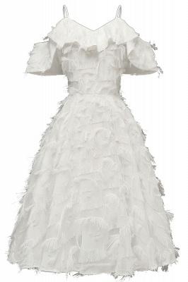 Stylish Spaghetti Straps Artifical Feather Princess Vintage Short Dresses_1