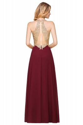 Cheap Chiffon Appliques Long Prom Dress | Affordable Floor Length A-line Evening Dresses_11