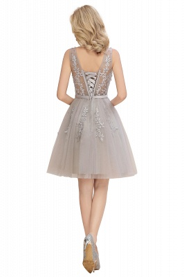 Lovely V-neck Lace-up Short Prom Dresses with Lace Appliques_16