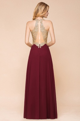 Cheap Chiffon Appliques Long Prom Dress | Affordable Floor Length A-line Evening Dresses_11
