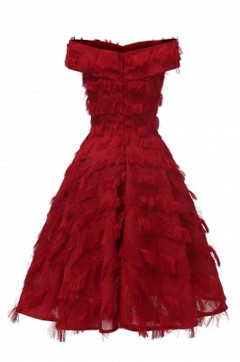Lovely off-the-shoulder Artifical Feather Princess Vintage Homecoming Dresses_12