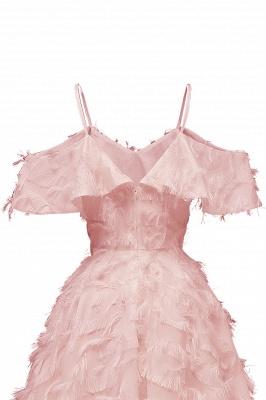Stylish Spaghetti Straps Artifical Feather Princess Vintage Short Dresses_10