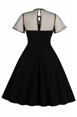 Elegant Round Neck Lace Short Sleeves Fashion Beer Dresses | A-Line Knee-Length Women's Dress_8