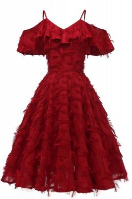 Stylish Spaghetti Straps Artifical Feather Princess Vintage Short Dresses_4