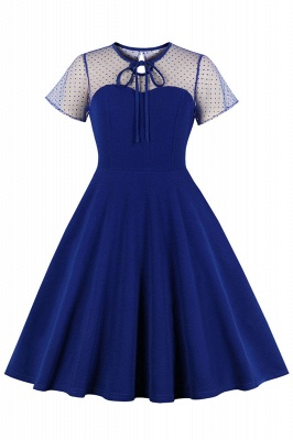 Elegant Round Neck Lace Short Sleeves Fashion Beer Dresses | A-Line Knee-Length Women's Dress_2