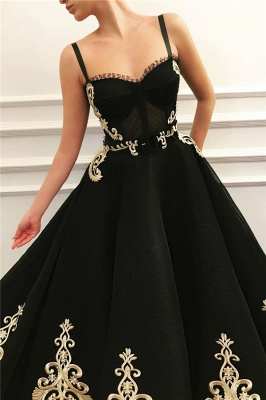 Cheap Straps Sweetheart Black Tulle Prom Dress | Charming Sleeveless Champagne Appliques Long Prom Dress_2