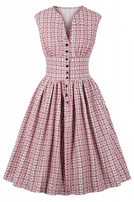 Glorious Jewel Sleeveless A-line Fashion  Dresses | Floral Knee-Length Women's Dress_2