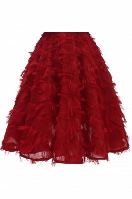 High neck Gorgeous Crew Neck Artificial Feather Dress Burgundy Short Dresses_14