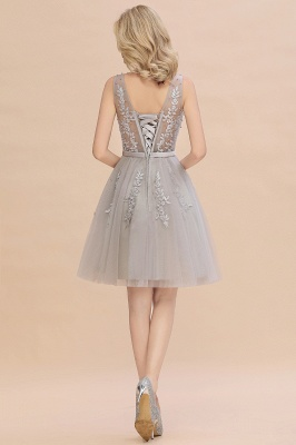 Lovely V-neck Lace-up Short Prom Dresses with Lace Appliques_15