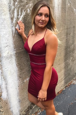 Bodycon Spaghetti Straps Short Homecoming Dress | Sexy Criss-Cross Straps Burgundy Short Dress_1