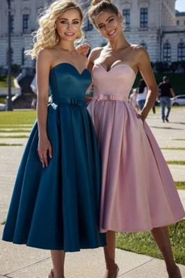 Simple Tea Length Sweetheart Pink Prom Dress | Affordable Strapless Navy Blue Prom Dress with Sash_1
