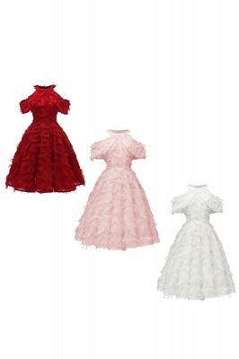 Gorgeous A-line High neck Artifical Feather Vintage Short Dresses_16