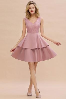 Lovely V-neck V-back Knee Length Ruffle Homecoming Dresses_1