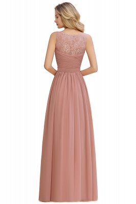 Cheap A-line Chiffon Lace V-Neck Ruffles Bridesmaid Dress in Stock_16