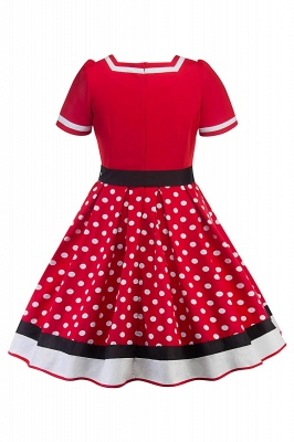 Fascinating A-line Belted Short Sleeve Jewel Polk-Dot Women's Dresses   Knee-Length Fashion Dress_8