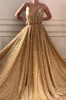 Glamorous Sequins Spaghetti Straps Long Prom Dress   Sparkle V Neck Sleeveless Gold Prom Dress_1
