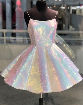 Sparkle Spaghetti Straps Sleeveless Homecoming Dress | Cheap A Line Sequins Short Mini Cocktail Dress BC2659_1