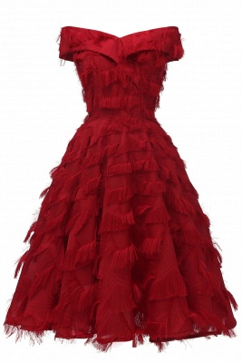 Lovely off-the-shoulder Artifical Feather Princess Vintage Homecoming Dresses_3