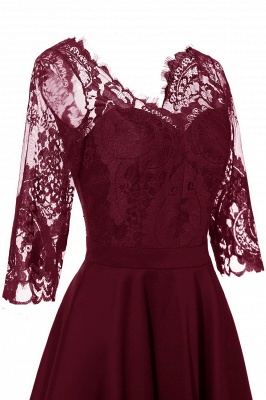 Stunning A-line Retro Scoop Neck V-back Ruffles Burgundy Lace Party Dresses_14