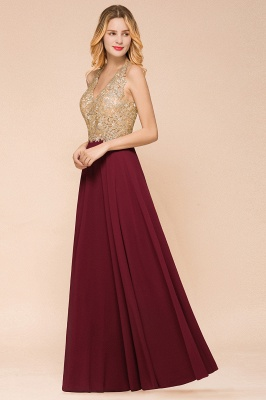 Cheap Chiffon Appliques Long Prom Dress | Affordable Floor Length A-line Evening Dresses_15