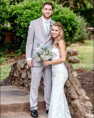Stilysh Spaghetti Straps V-Neck Wedding Dress | Cheap Column Long Bridal Dress_3