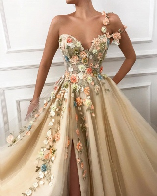 Stylish One Shoulder Strap Tulle Prom Dress | Sexy Sweetheart Front Slit Appliques Flowers Prom Dress_2