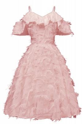 Stylish Spaghetti Straps Artifical Feather Princess Vintage Short Dresses_5