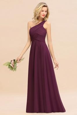 Chic Long One Shoulder Ruffle Chiffon Burgundy Bridesmaid Dresses_3
