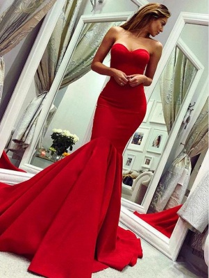 Red sweetheart mermaid prom dress with train_1