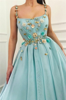 Sexy Spaghetti Straps Sleeveless Long Prom Dress | A Line Beading Flowers Cheap Prom Dress_2