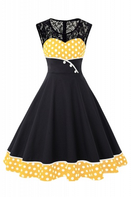 Gorgeous Sleevelwss Jewel Fashion Dresses | Polk-Dot Women's Dresses_2