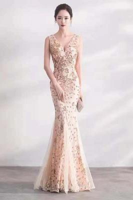 Cheap V-neck Long Prom Dresses   Sleeveless Floor Length A-line Evening Dresses_1