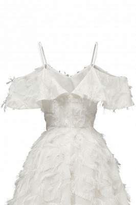 Stylish Spaghetti Straps Artifical Feather Princess Vintage Short Dresses_17